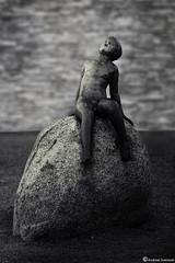 Sunbathing statue (AndreasNikon) Tags: city sunset summer blackandwhite bw sun stone sweden bokeh ngc nocrop sommar svartvitt landskrona skanecounty