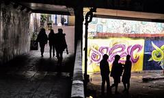 Light And Dark (tcees) Tags: leakestreet london se1 pad padgraffiti graffiti x10 fujifilm paint lowermarsh waterloo waterloostn people artists tunnel
