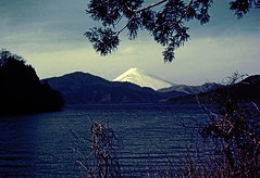 Mt. Fuji from Lake Hakone, 1948, by my father (desert hiker) Tags: