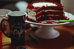 Coffee and Red Velvet (TheJennire) Tags: photography fotografia foto photo canon camera camara colours colores cores light luz young tumblr indie teen cake comida food redvelvet happybirthday birthday coffee café drink sweet 22nd detail 50mm moment red