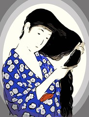 Vector Comb (sjrankin) Tags: 17february2017 edited processed library goyo vector vectorized ukiyoe art japaneseart print illustration womanwithcomb girlwithcomb