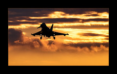 Out Of The Sun (richieb56) Tags: air defence services base tactical fighter wing 71 gschwader taktisches night light airfield typhoon luftwaffe german force sunset cloud jet wash silhouette shape