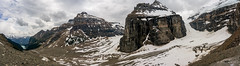 Valley of Six Glaciers panorama (NettyA) Tags: 2014 alberta banffnationalpark canada canadianrockies lakelouise northamerica sonynex6 valleyofsixglaciers hiking mountains panorama summer travel valleyofsixplains pano glacier clouds landscape lightroomcc