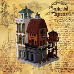 Residential Quarters - Corner 2 (Zilmrud) Tags: moc lego modular building steam punk steampunk ruins san victoria swebrick house