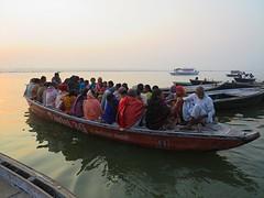 The Pilgrimage (Mary Faith.) Tags: varanasi benares pilgrims pilgrimage india people boat sunrise spirit holy ganges religion hindu river transport death reincarnation