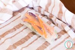 Rainbow Spring Rolls (twofoodies) Tags: springrolls bellpepper carrot cucumber lettuce mint mango cabbage soysauce peanutbutter sesameseeds rollosdeprimavera chilepimiento zanahoria pepino lechuga repollo menta salsasoya mantequillademaní ajonjolí food