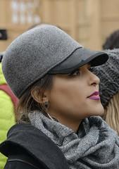 STREET PORTRAIT (gianmaria.colognese) Tags: street donna grigio berretto venezia carnevale profilo fascino