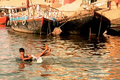 The Essence of Childhood (pallab seth) Tags: india playing childhood river colours child culture varanasi dailylife ganges banaras pallabseth joyjoyofsharing