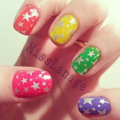 Silver stars over ice neons (MissLanage) Tags: nails nailart manicures neonnails nailartdesigns nailstamping modelsown skittlenails flickrandroidapp:filter=none iceneons