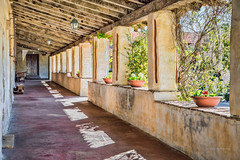 Mission Carmel Courtyard (stephencurtin) Tags: california door shadow plants usa color exterior courtyard photograph carmel mission missioncarmel beams stucco passageway thechallengefactory
