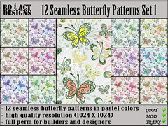 Seamless Butterfly Patterns Set 1 Poster (..::RO!ACT::..DESIGNS) Tags: summer house color texture home animal shop butterfly insect spring clothing colorful pattern furniture designer pastel decoration sl fabric secondlife material decor seamless builder iw fullperm inworldz