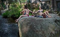 Girls At St Peters_2189 (dcsaint) Tags: girls people smile rock wall creek photoshop landscape nikon pennsylvania towel pa bikini jar holdinghands hdr bathingsuit pse sandle frenchcreek d90 chestercountypa stpetersvillage pruse dcsaint nikond90 pse10 photoshopelements10
