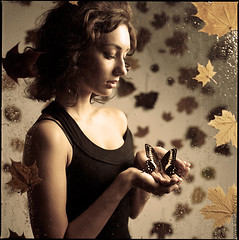Buterfly dies on Monday. (saltanoff) Tags: autumn portrait color art 120 6x6 film girl beauty mediumformat studio square dream hasselblad fairy squareformat format tale