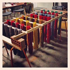 This weeks project complete - drying rack! #theaxehouse #hyenainpetticoats #handdyedyarn (hyena-in-petticoats) Tags: square squareformat iphoneography instagramapp uploaded:by=instagram