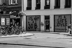 Words on Windows (Pauls-Pictures) Tags: street city people urban blackandwhite man abandoned netherlands amsterdam bicycle wall writing photography graffiti decay candid streetphotography bikes photograhy streetphotos buiding streetpics streetphotograhy streetpictures archiectural