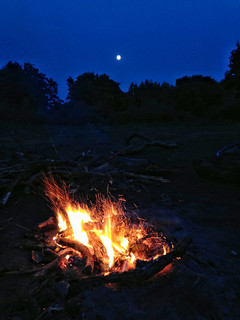 Full moon rise over our fire.