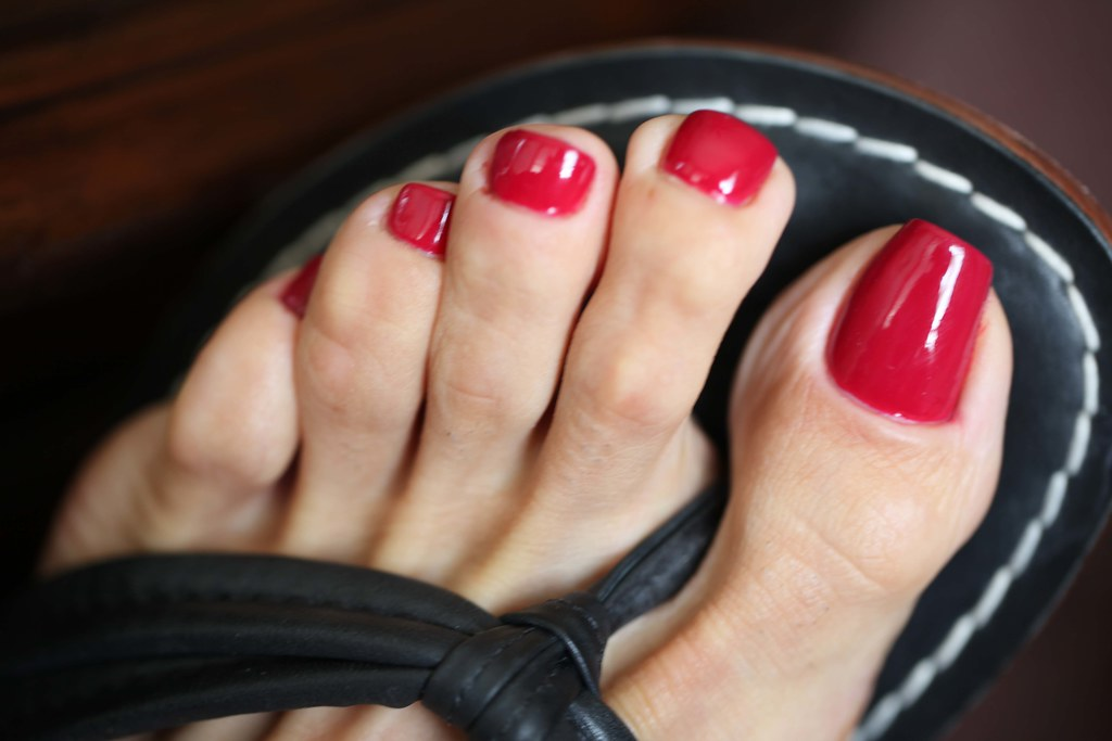 Sexy feet red painted toenails-3398