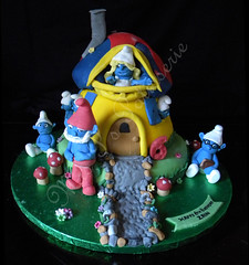 smurfs house cake (Mrs P's Patisserie) Tags: birthday house cake smurfs