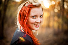 Alex (pyathia) Tags: autumn sunset portrait fall alex leaves forest portraits hair woods warm lensflare blondehair redhair halfhalf brightred halfandhalf halfred redblonde halfhalfhair redandblonde manicpanicred