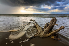 Seascape on a stormy weather at Borneo, Sabah, Malaysia (Macbrian Mun) Tags: wood longexposure light sunset sea sky storm motion tree beach water rain weather clouds dead evening movement sand asia waves shadows gloomy sundown bad dramatic stormy foam malaysia borneo trunk plank sabah sescape sotrmy
