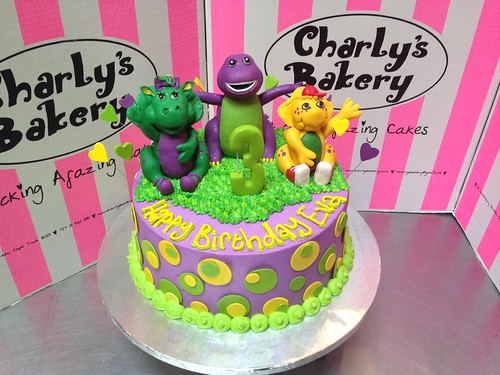 Prime Barney Cake Toppers On Birthday Cake With Polka Dots A Photo On Personalised Birthday Cards Cominlily Jamesorg