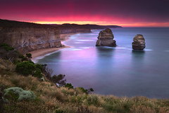 Gibson Steps - Great Ocean Road (stevoarnold) Tags: ocean pink blue sunset seascape clouds sunrise sandstone rocks long exposure waves purple australia victoria cliffs vic greatoceanroad 12apostles gibsonsteps thetwelveapostles