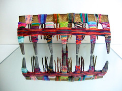 fibeRake (Peggy Dembicer) Tags: original art metal creativity design diy rainbow recycled handmade mixedmedia unique creative craft surfacedesign rake textile handcrafted create woven fiberart recycle fiber weaving beading doityourself embellish craftsmanship textileart reuse studioart dembicer connecticutartist peggycorallo