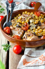 Baked chicken with chickpeas and vegetables (teleginatania) Tags: food color chicken vegetables closeup dinner ceramic cherry bread pepper cuisine stew beans healthy dish eating eggplant traditional tomatoes free tasty nobody fresh meat course gourmet potato health clay poultry meal carrot onion diet zucchini moroccan freshness baked drumsticks roasted gluten nutrition chickpeas chickpea braised spiced