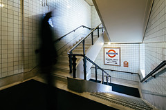 TFL -Keeping London Moving (Subversive Photography) Tags: travel shadow man london stairs underground movement moments tube documentary atmosphere eerie strike londonunderground cinematic reportage tfl transience tubestrike