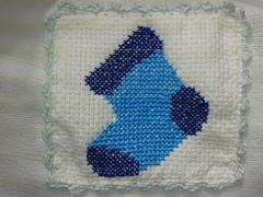 Fralda de Boca - Meia Azul F014 (SaluArts) Tags: de pano cruz infantil beb boca ponto paninho fralda fraldinha enxoval