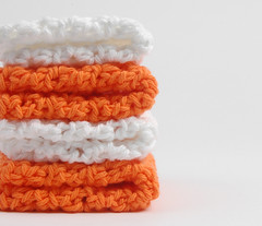 hotorangewhite5 (Reina Ferraris) Tags: summer usa handmade dishcloth cotton washcloth madeinusa brilliantwhite hotorange