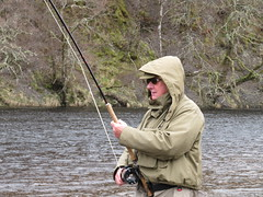 Of course I have not given up fishing or ghillieing; here is Lawrence Hoskins playing a 10 pounder in Upper Sgolbach on april the 12th.  Great to be back on my old river with young friends!