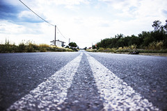 The road is long.... (df-stop.) Tags: road travel blue light sky plants house bicycle tarmac canon paint day horizon perspective greece powerlines macedonia journey thessaloniki timeless whitelines thermi makedonia eurozone  dfstop2015