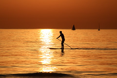 paddling on the SUP in a golden sea - Tel-Aviv beach (Lior. L) Tags: paddlingonthesupinagoldenseatelavivbeach paddling sup golden sea telaviv beach silhouettes sailboat sailing sailboats telavivbeach israel travel travelinisrael