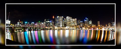Darling Harbour - Sydney (~Inspire~Me~) Tags: darling harbour harbor sydney australia samyang 8mm sea skyscapers lights beautiful beauty impressedbeauty life~asiseeit light landscape general art beach bridge night low sony sonya77 a77 slow shutter silky water