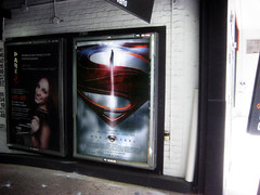 Superman 0474 (Brechtbug) Tags: street new york city nyc blue red man work dark comics painting movie poster square book dc paint theater comic near steel character alien bat working broadway s superman billboard advertisement adventure hero superhero billboards knight worker shield times insignia krypton 46th 2013
