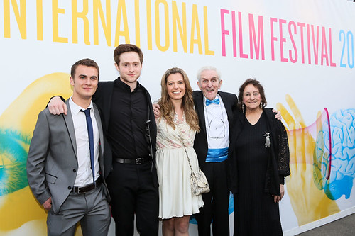 Patrick Wallace, Andrew Rothney, Norman MacLean, Scarlett Mack and Sheila Stewart at the photocall for Blackbird outside the Filmhouse