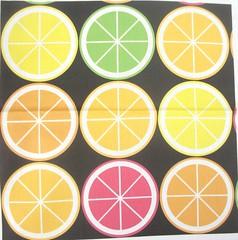 Citrus Segment Polka Dot Black (Smuk (Penny)) Tags: orange lemon bright polka dot fabric mandarin citrus colourful lime smuk spoonflower 20130717