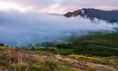 Foggy Sunset near Anchorage (Kretzsche93) Tags: sunset summer usa mountain alps alaska america flat near top foggy august glen anchorage amerika 2013