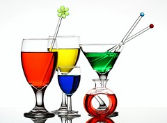 Colourful Drinks (Karen_Chappell) Tags: blue red stilllife white green glass yellow glasses colours drink five colourful