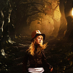 Twinkle Twinkle Little Bat (tryniti almquist) Tags: party girl hat leaves leather lady forest cat dark woods cheshire tea alice gothic deep surreal blow jacket blonde wonderland magical whimsical hatter