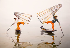 Floating Grace.  Inle Lake (AndersonImages) Tags: mist lake reflection fog michael fishermen burma culture anderson baskets myanmar inle