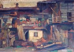 Romualdo Prati Case rustiche a Caldonazzo olio su tavola 23,5x35cm Collezione privata