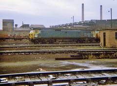 Class 50 Diesel Locomotive No. D418 at Polmadie MPD, Glasgow c. 1970 (allan5819 (Allan McKever)) Tags: uk travel blue scotland br diesel glasgow transport engine loco depot locomotive britishrail mpd class50 westcoastmainline wcml polmadie stabled d418