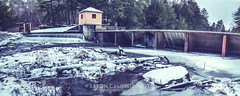Dam & Overflow, 2014.01.01 (Aaron Glenn Campbell) Tags: winter panorama snow ice rural 1st pennsylvania pano country january panoramic reservoir textures slowshutter hdr newyearsday overflow secluded nepa 2014 edr luzernecounty ricedam jacksonroad jacksontownship wednersday