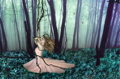 Wrapped up in the Tales of the Trees (Abbye Falkner) Tags: pink blue selfportrait art nature girl beautiful grass leaves forest photoshop dark hair photography concentration photo cool vines hands scenery glow dress purple eerie conceptual whimsical onewithnature hummingbrids brookeshaden abbyelynne