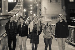 Friends (Kacey_Oesterreich) Tags: city winter friends light chicago cold cute sepia portraits buildings fun pretty awesome hard scenic hats couples adventure artsy cameras filters candids epic beautifull intown beanies bridgge photographya candidsinchicago