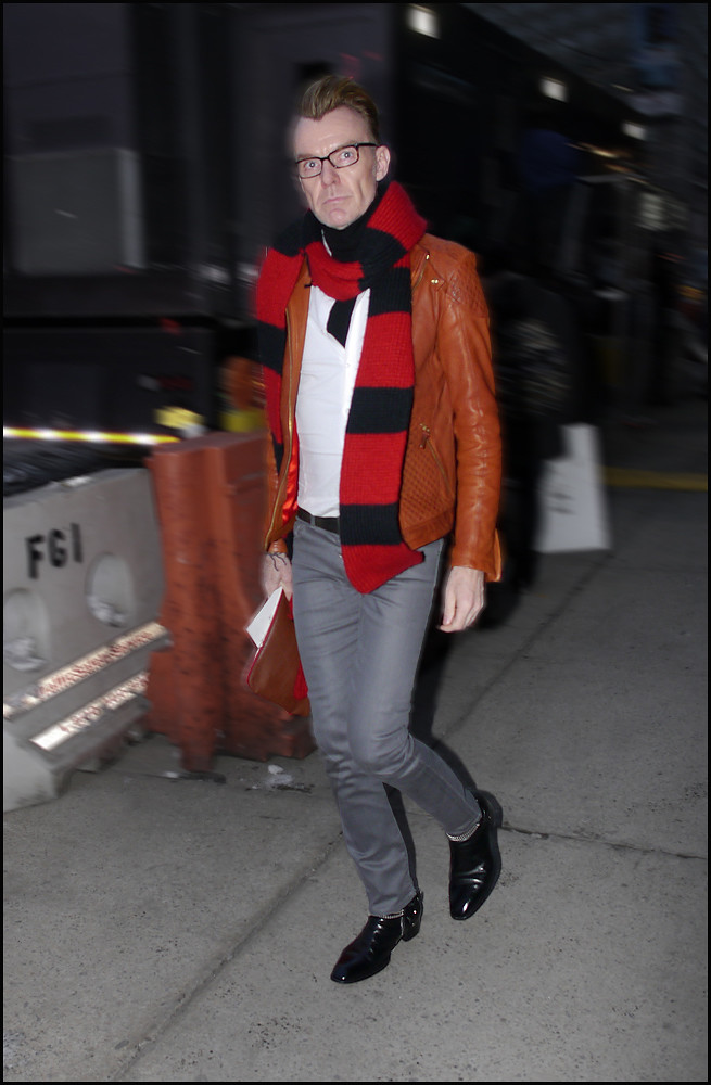 FW 2014-2 -33 Ken Downing orange leather jacket red and black scarf grey jeans ol