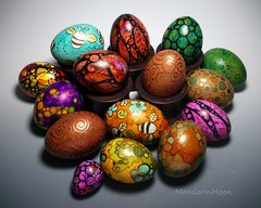 Easter Eggs 2014 (MandarinMoon) Tags: chicken leaves rainbow eggs bumblebees eastereggs paintedeggs dyedeggs decoratedegg