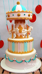 Carousel Cake (sweetsuccess888) Tags: carnival cookies cake cupcakes circus clown popcorn ferriswheel cans lollipop circustent chocolateballs dessertbar sweetsuccess designercookies eventstyling nakedminiombre